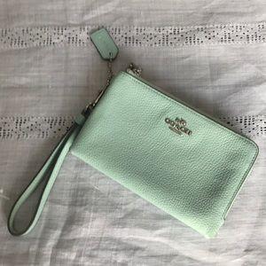 Mint green coach wristlet